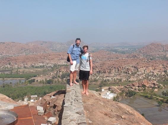 Ace and Beau atop the Hanuman Temple in Hampi