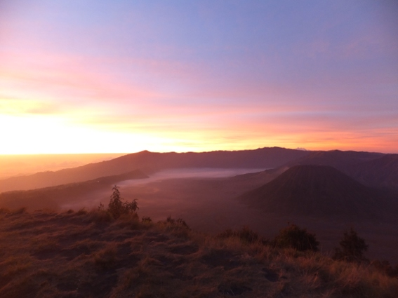 Mt. Bromo at twilight as seen from our mountain