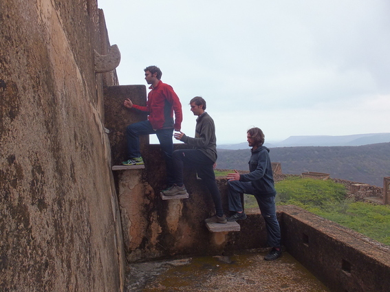 Aaron, Me, and Joshua on stairs in the Bundi fortress