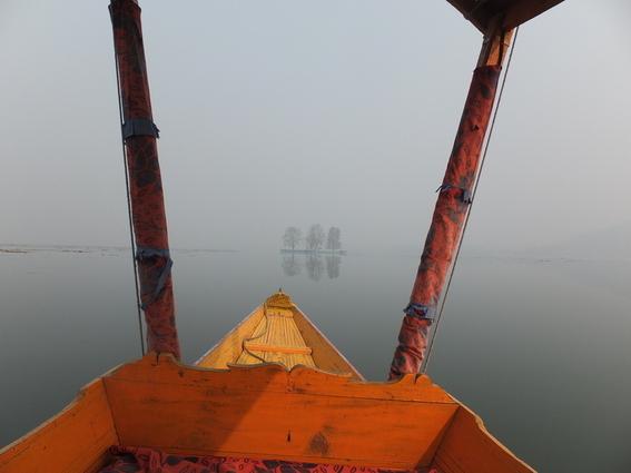 Eerie island in Dal lake