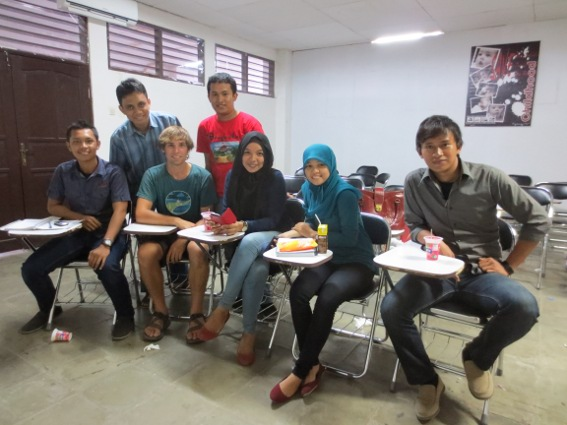 The English class from University 45 in Makassar and I