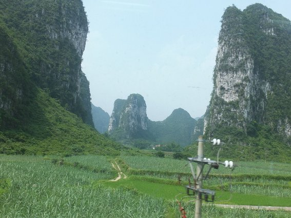 Karst mountains outside the train