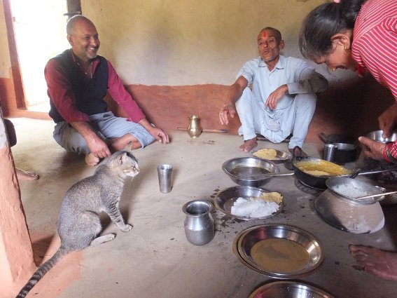 Special dhindo lunch in Aabhash's village