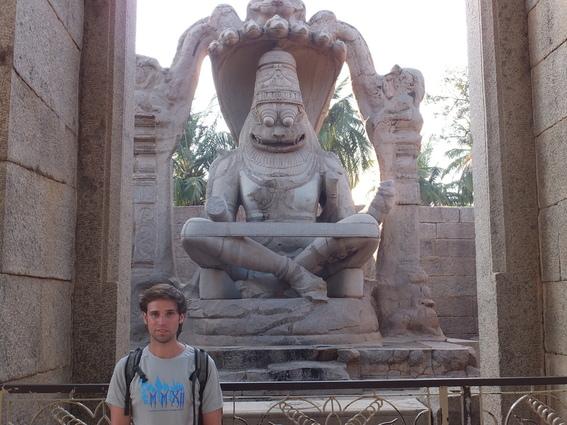 Beau in front of the Lakshmi Narasimha Temple