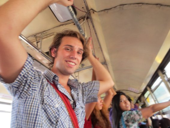 Me on a public bus in Yangon before it was full