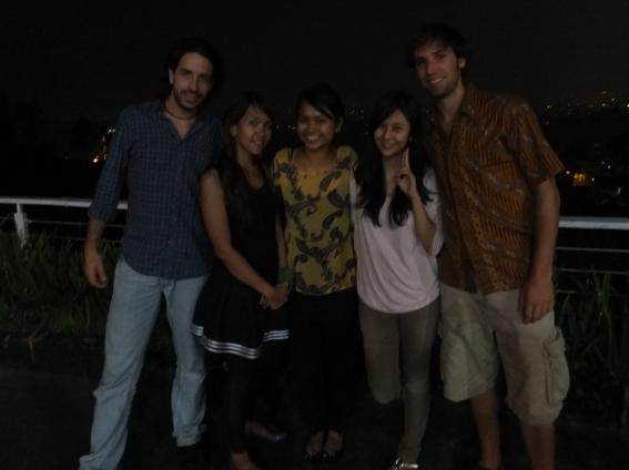 Miguel, Vina, Hanisah, Diana and Beau at Sierra, a restaurant overlooking Bandung