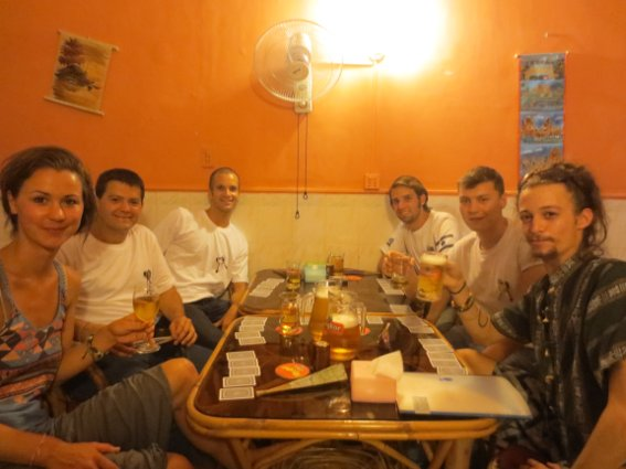Drinking buddies in Phnom Penh on the night of the funeral