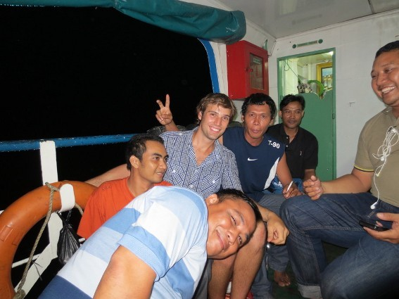 Me and the group on the ferry from Pontianak to Gunung Palung(the person giving the peace sign was named Tarzan)