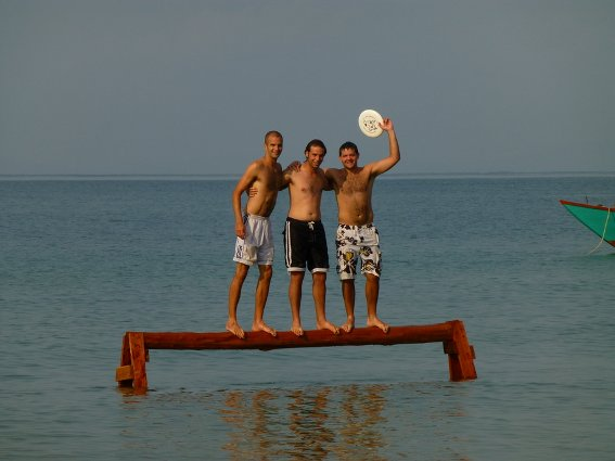 Rob, Me and Marius on balance beam at Otres
