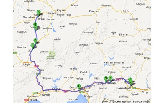 My hitchhiking route from Cappadocia to Gaziantep