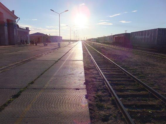 Sainshand train station nearing dusk