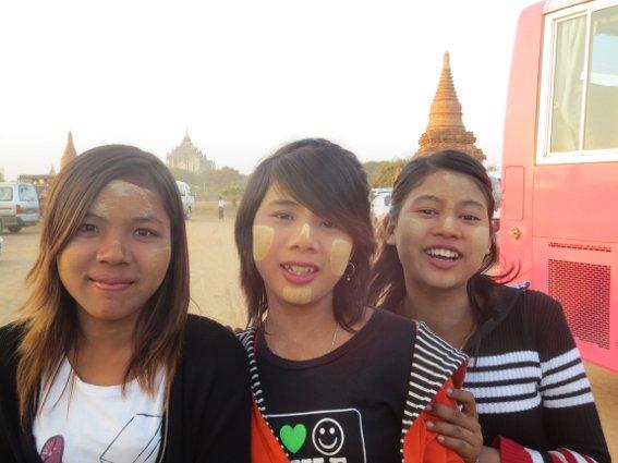Three girls with thanaka